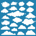 Set for blue sky, different clouds. Flat graphic vector elements Royalty Free Stock Photo