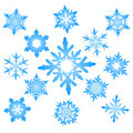 Set of blue snowflakes Royalty Free Stock Photos