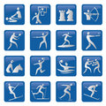 Set of blue sport icons Royalty Free Stock Photo
