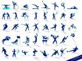 Set blue sports silhouettes Royalty Free Stock Photos