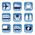Set blue travel icons over white background Royalty Free Stock Photos