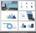 Set of blue and turquoise elements for multipurpose presentation template slides with graphs and charts. Leaflet