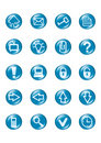 Set of blue vector glass button icons Stock Image