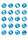 Set of blue vector glass button icons Royalty Free Stock Photo