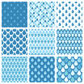 Set of blue vector water drops seamless patterns Royalty Free Stock Photo