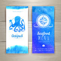 Set of blue watercolor seafood banners Royalty Free Stock Photo