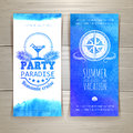 Set of blue watercolor summer banners Royalty Free Stock Photo
