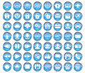 Set of blue web multimedia and business icons on a white background Royalty Free Stock Photos