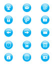 Set of blue and white circular buttons for mobile phone applications or web Royalty Free Stock Photo