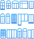 Set of blue window icons on white background Stock Image