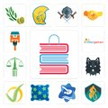 Set of book shop, mountain bike, swim and dive, pillow, checkmark, wolf face, scales justice, kindergarten, home paint icons Royalty Free Stock Photo