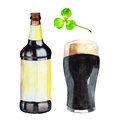 Set with bottle, glass of dark beer and the clover, watercolor illustration in hand-drawn style for St. Patrick`s Day.