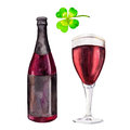 Set with bottle, glass of red beer and the clover, watercolor illustration in hand-drawn style for St. Patrick`s Day.