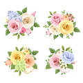 Set of bouquets of colorful roses and lisianthus flowers. Vector illustration. Royalty Free Stock Photo