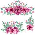 Set Of Bouquets With Watercolor Deep Pink Flowers And Leaves