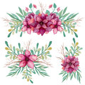 Set Of Bouquets With Watercolor Pink Flowers