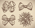 Set of bow doodle this is file eps format Royalty Free Stock Image