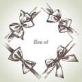 Set of bow hand drawn illustrations ribbons Royalty Free Stock Image
