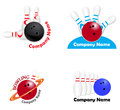 Set bowling team logos a of for teams Royalty Free Stock Photos