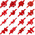 Set of bows with ribbons arranged diagonally realistic beautiful red shadows Royalty Free Stock Photography