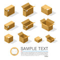 Set of boxes to send isometric