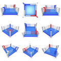 Set of boxing ring high resolution d render sport competition match arena concept Stock Image