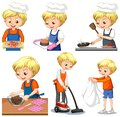 Set of a boy doing different houseworks Royalty Free Stock Photo