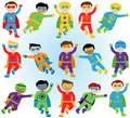 Set of boy superheroes in vector format flying poses Stock Photos