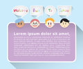 Set of boys face cartoon character say welcome back to school in gray quote text box and purple poster on blue background