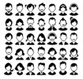 Set of boys and girls avatars and operator icons vector illustration Royalty Free Stock Images