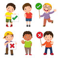 Set of boys holding and doing right and wrong signs Royalty Free Stock Photo