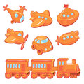 Set of boys toys transport cartoons train car plane ship helicopter submarine Stock Image