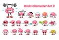 Set of Brain Cartoon Character 2 Royalty Free Stock Photo