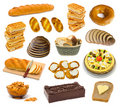Set of bread and cakes Royalty Free Stock Photos