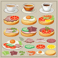 Set of breakfasts - fried eggs, sandwiches, tea, coffee. Royalty Free Stock Photo