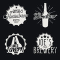 Set of brewery labels homebrew badges icons and design templates vector Royalty Free Stock Image