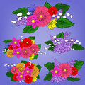Set of bright bouquets vector Royalty Free Stock Images
