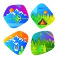 Set of bright colored logos for camping and outdoor recreation.