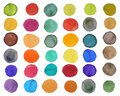 Set of bright colorful watercolor circle on white background