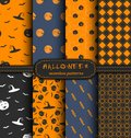 Set of 8 bright and dark Halloween seamless patterns. Vector Holiday collection for design.