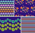 Set of bright floral and geometric patterns. Ornaments with beautiful flowers