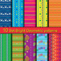 10 Set Bright Geometric patterns Royalty Free Stock Photo