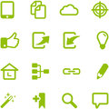 Set of bright green vector icons collection can be used in web design mobile applications computer programs file in eps Royalty Free Stock Photos