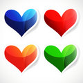 Set of bright labels heart-shaped. Royalty Free Stock Image