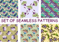 Set of bright multicolored floral seamless patterns Royalty Free Stock Photo