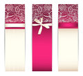 Set from bright pink banners with silk ribbon and lace isolated on white Stock Photo