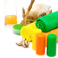 Set of bright spa accessories Royalty Free Stock Photo