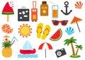 Set of summer icons. Vector illustration