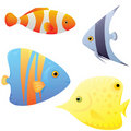 Set of bright tropical fish Stock Photos