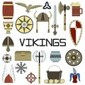 Set of bright vector illustrations for the design of Vikings